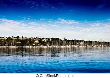 Oslo yacht club city background hd