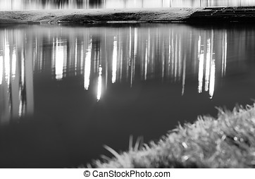 Black and white beach with bokeh grass and water reflections...