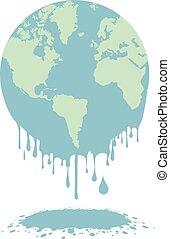 melting earth globe - minimalistic illustration of a melting...