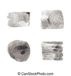 Vector silver paint smear stroke stain set on white...