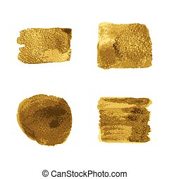 Vector gold paint smear stroke stain set on white...