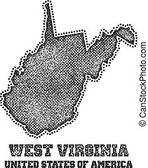 Label with map of west virginia.