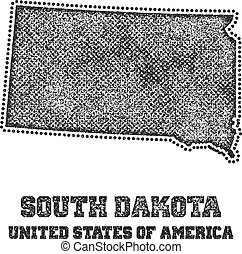 Label with map of south dakota.
