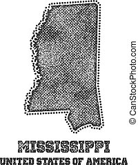 Label with map of mississippi.