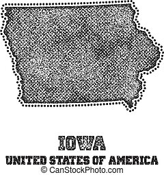 Label with map of iowa.