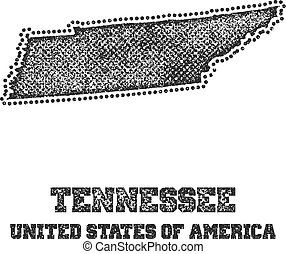 Label with map of tennessee.