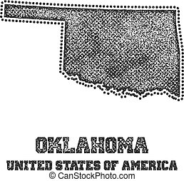 Label with map of oklahoma.
