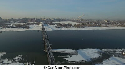 Bridge through Ob river in Novosibirsk - Railway bridge...
