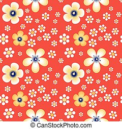 Flowers in Khokhloma style - Flowers on Red field. Vector...