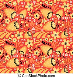 Strawberry and Flowers in Khokhloma style - Strawberry and...