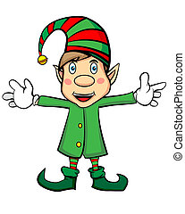 Cute Cartoon Character Christmas Elf - Cute Cartoon...