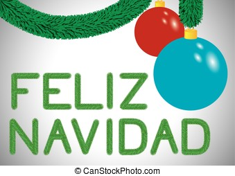 Feliz Navidad greeting card in Spanish made with green...