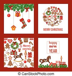 Christmas set. Xmas theme in boarded squares with gingerbread