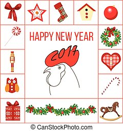 Happy new year and christmas greeting card with different objects in squires