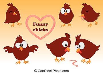 Cute cartoon set Chicken. Funny brown chicken in different...