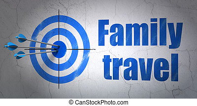 Vacation concept: target and Family Travel on wall...