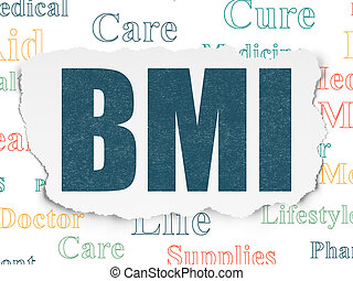 Healthcare concept: BMI on Torn Paper background -...