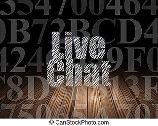Web development concept: Live Chat in grunge dark room