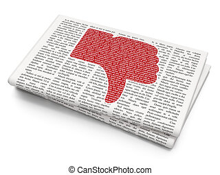 Social media concept: Thumb Down on Newspaper background -...