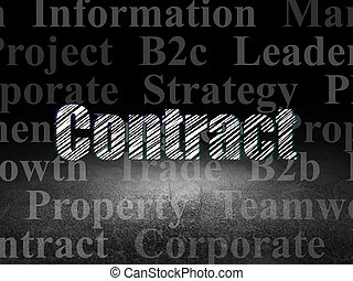 Business concept: Contract in grunge dark room