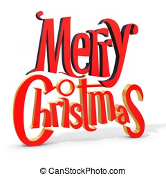 3d Merry Christmas text on white background 3D illustration...