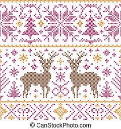 pattern with deers, trees and snowflakes - Vector...