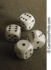 closeup of the dices on  table