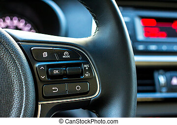 Car audio control buttons on steering wheel