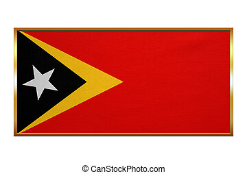 Flag of East Timor , golden frame, fabric texture - East...