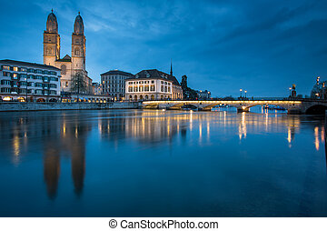 Zurich, Switzerland - nightview with Grossmunster church