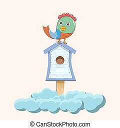 Bird sitting on birdhouse