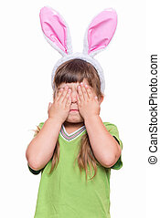 Little girl with rabbit ears