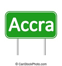 Accra road sign. - Accra road sign isolated on white...
