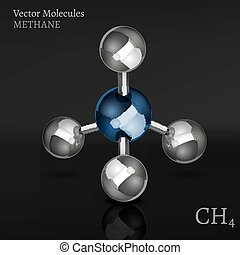 Methane Molecule vector - Methane molecule in 3D style. CH4...