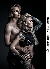 rock couple - Sexual couple play in love games. Attractive...