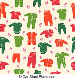 Vector seamless pattern with baby clothes.