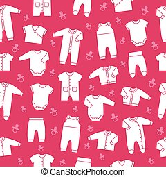 Pink seamless pattern with baby clothes. Vector.
