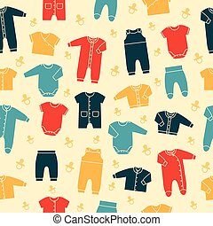 Retro seamless pattern with baby clothes. Vector.