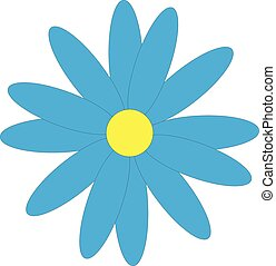 Blue flower on white background.