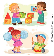 Set of vector icons little children playing with toys - Set...