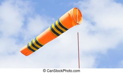 Windsock in airport on the blue sky