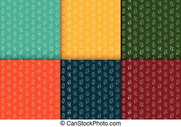 Set of seamless retro patterns with currency symbols. - Set...