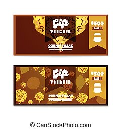 Voucher, Gift certificate and Coupon template. Floral, vintage ornament, pattern , frame. Background design for invitation, ticket, banknote, money design, currency, check. Bright gold Vector