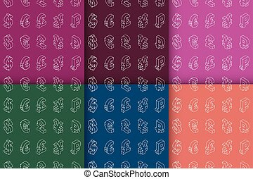 Set of seamless patterns with currency symbols. Vector. -...
