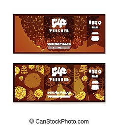 Voucher, Gift certificate and Coupon template. Floral, vintage ornament, christmas tree. Background design for invitation, ticket, banknote, money design, currency, check. Bright gold Vector
