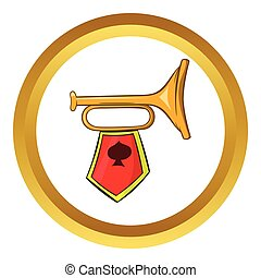 Golden trumpet vector icon, cartoon style - Golden trumpet...