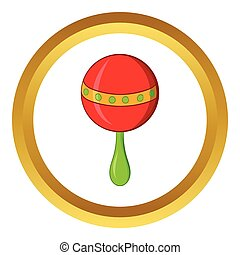 Red baby rattle vector icon, cartoon style - Red baby rattle...