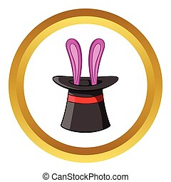 Hat with rabbit vector icon, cartoon style - Hat with rabbit...