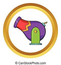 Circus cannon vector icon, cartoon style - Circus cannon...