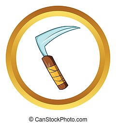 Kusarigama ninja weapon vector icon, cartoon style -...